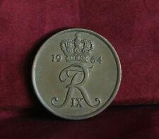 1964 Denmark 5 Ore Bronze World Coin KM848.1 Crowned FR monogram Barley stalks