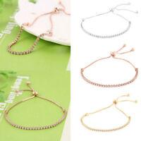 Women Rhinestone Cubic Zirconia chain Bracelet Adjustable Bangles Jewelry