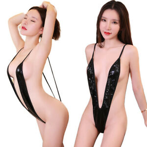 Womens Lingerie Swimwear Exotic Micro One Piece Bikini G-string Thong Sling^ZY