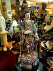 Large Antique Asian Carved Wood Sculpture of Lady Playing Music Instrument