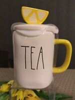 "🍋Rae Dunn Mother's Day ""TEA"" Mug w/ Lemon Slice Lid Yellow Handle~Magenta NEW!"