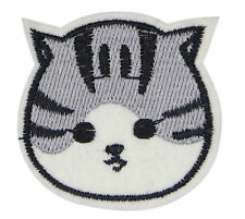 CAT HEAD PATCH, CAT FACE APPLIQUE, EMBROIDERED KITTEN FACE PATCH (GWCF-543)