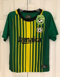 NWT DNS Jamaica Soccer Football Club Jersey Green/Yellow Patch Boys - Size 6/8