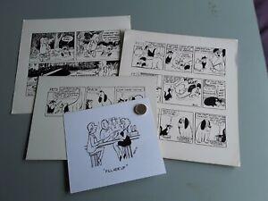 """ORIGINAL BILL MEVIN CARTOON ARTWORK ×4 """"PEN/INK"""""""