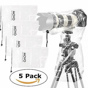 """Movo (5 Pack) RC1 Clear Rain Cover for DSLR Camera & Lens up to 18"""" Long"""