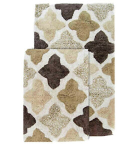 "Chesapeake Moroccan Tiles 2 Piece Cotton Bath Rug Set 21"" x 34 & 17"" x 24"" Khaki"