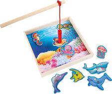Angelspiel Kasten Angeln Kinderspiel Fische Holz Magnet magnetisch Magnetangel