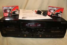 JVC Stereo Double Dual Cassette Tape Deck with Pitch Control TD-W354BK TESTED