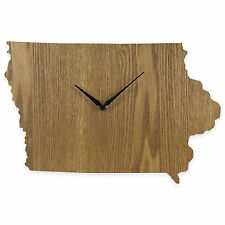 Iowa State Shaped Wood Grain Wall Clock Collection