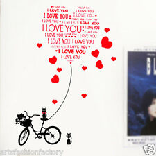 I love you Bike Wall Art Vinyl Decal Wall Stickers Art Bedroom Living Room Decor