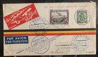 1937 Bruxelles Belgium First Direct Flight Cover FFC to Prague Czech Rep SABENA