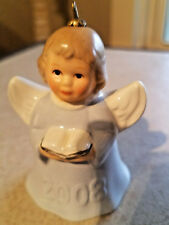 2008 Goebel Angel Bell Blue Holding Song Book
