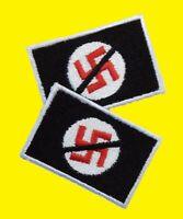 Anti Nazi 2 Stück gestickter Aufnäher- Embroidered Patch schwarz black