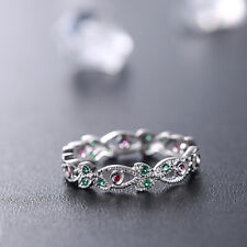 Flawless Emeralds Rubies Band Wedding 14K White Gold Engagement Gemstone Ring