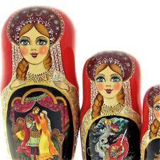 5 Poupées russes H19cm exclusive Palekh peint main signé Matriochka Nested Doll