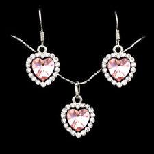 925 Silver Plated Amethyst Heart Pendant Jewelry Women Necklace Earrings Set Pop