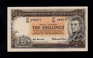 AUSTRALIA 10 SHILLINGS ( 1954-60 )  PICK  # 29a  AU.