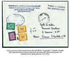 ITALIA REP. - Segnatasse - 1991 - 500 L.Filigrana stelle IV tipo. Esem. di pass.