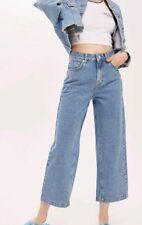 Topshop Bleach Diamante Cropped Wide Leg Jeans