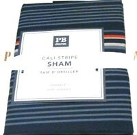 Pottery Barn Dorm Cali Stripe Standard Euro  Pillowcase Navy Blue Red Tan New