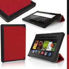 Rosso Ecopelle Smart Cover Custodia per Amazon Kindle Fire HD 6 2014 4° Gen Case