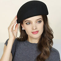 Women Unisex 100% Wool Felt Beret Hats Pillbox Fascinator Saucer Tilt Cap A468