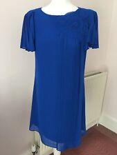 Monsoon Cobalt Blue Pleat Corsage Suzie Tunic Dress Summer Wedding Party 12