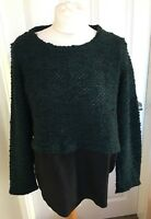 Ladies Next Green Black Long Sleeve Jumper Top All In One Smart Size 12 B34