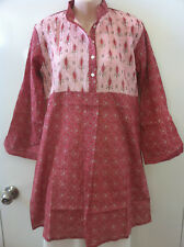 "FLORAL PINTUCKED INDIAN VOILE TUNIC KURTA 42"" BUST Medium New"