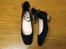 KATE SPADE NY MARCELINA BLACK SUEDE GOLD GLITTER HEEL SHOES NEW SIZE 6.5 $328.00