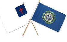 "12x18 12""x18"" Wholesale Combo Christ Christian State South Dakota Stick Flag"