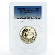 Bahamas 50 cents Swordfish Blue Marlin PR70 PCGS proof silver coin 1975
