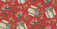 NEW  CHRISTMAS HOLIDAY GIFTS ON RED  SEW  CRAFT FABRIC  3 YARDS