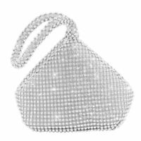 Silver Diamante Crystal Bride Clutch Purse Pouch Girl Evening Bag Prom Christmas