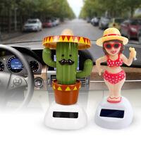 FP- Solar Girl Cactus Automatic Swing Car Interior Ornament Dashboard Decor Sala