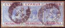 CYPRUS GEORGE V SG 78a STRIP OF 3 MIDDLE 1 BROKEN TRIANGLE VARIETY SUPERB USED