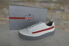 PRADA Gr 43  9 Sneakers Schnürschuhe Schuhe 4E3196 weiß NEU ehem UVP 520 €