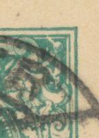 """DT.REICH """"TRIER / 1"""" K2 a. 5 Pf blaugrün Reichspost Kab.-GA-Postkarte ABART 1892"""