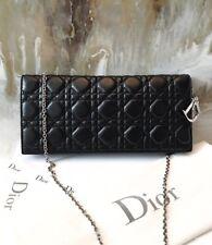DIOR Lady Dior Black Lambskin Leather Cannage Charm Clutch Bag!