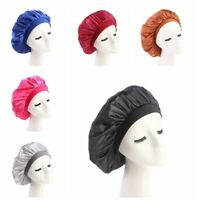 Adjust Elastic Head Cover Wide Band Silk Satin Night Sleep Cap Hair Bonnet Hats`