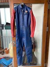 vintage RIVETTS suit blue red racing biker motorcycle leathers jacket trousers
