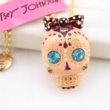 Pendant Betsey Johnson Fashion Jewelry Enamel rhinestone skulls Sweater Necklace