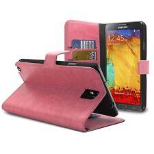 Coque housse étui Folio Galaxy Note 3 Cuir Eco Veiné Rose  inclus