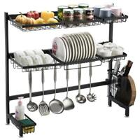 Single/Double Layer Steel Dish Drying Rack Over Sink Kitchen Drainer Holder New