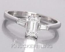 Diamond Engagement Ring 0.71ct G VS1-VS2 Emerald Cut in 18ct White Gold