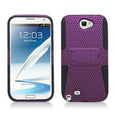 Samsung Galaxy Note II 2 MESH Kick Stand Hybrid Silicone Rubber Skin Case Purple