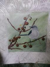 Folk Art original bird painting on metal one-of-a-kind signed by artist vintage