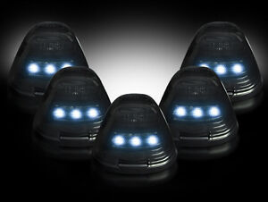 1999-2016 Ford Super Duty Smoked Cab Roof Lights w White LED Bulbs & Install Kit