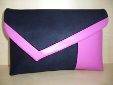 Over Sized Navy Blue & Pink Asymmetrical Faux Suede Clutch Bag UK Made.