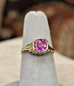 Antique Art Deco 14K filigree platinum 1.5 ct pink sapphire ring sz 5.5